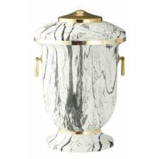 urna metalowa biało-czarna złote dodatki